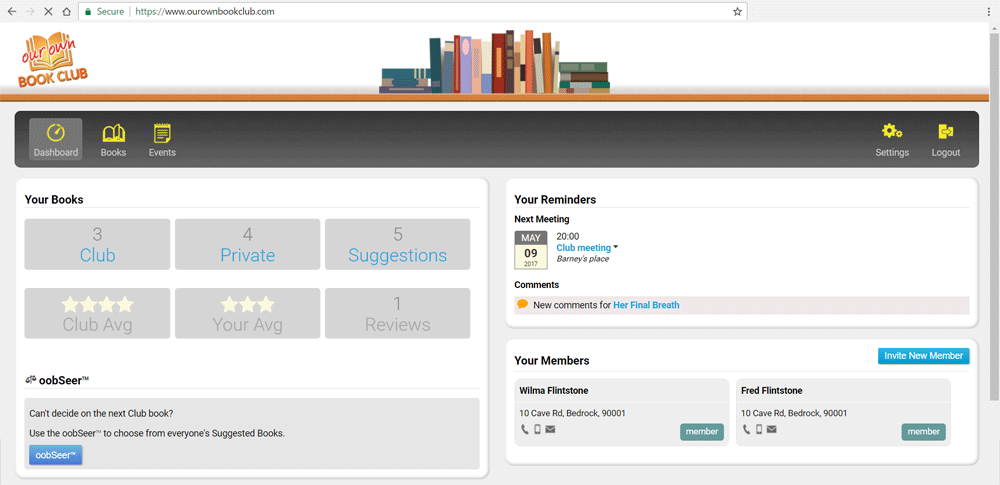 Our Own Book Club Dashboard